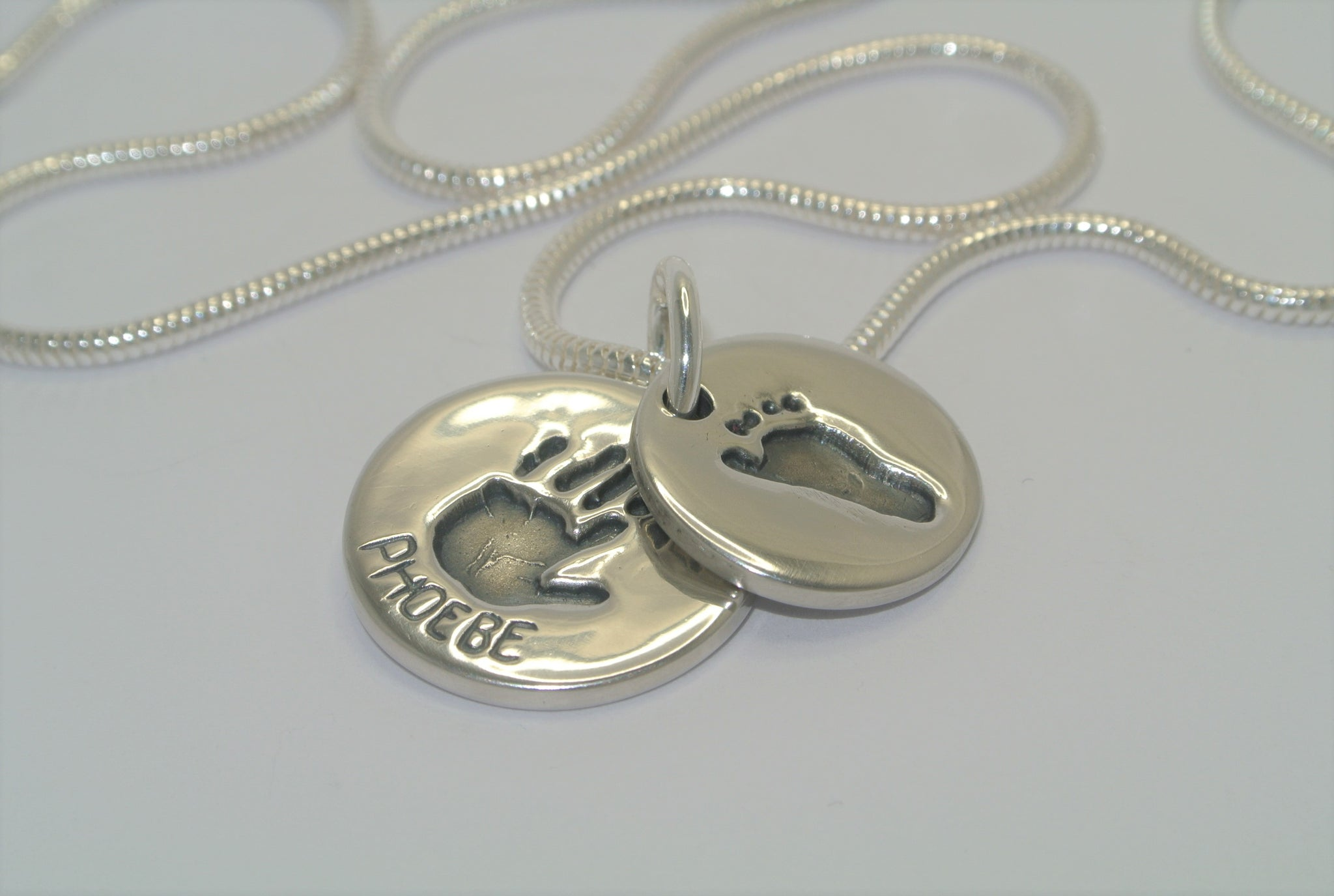Stacking Duo Sterling Silver Handprint or Footprint Jewellery Pendants