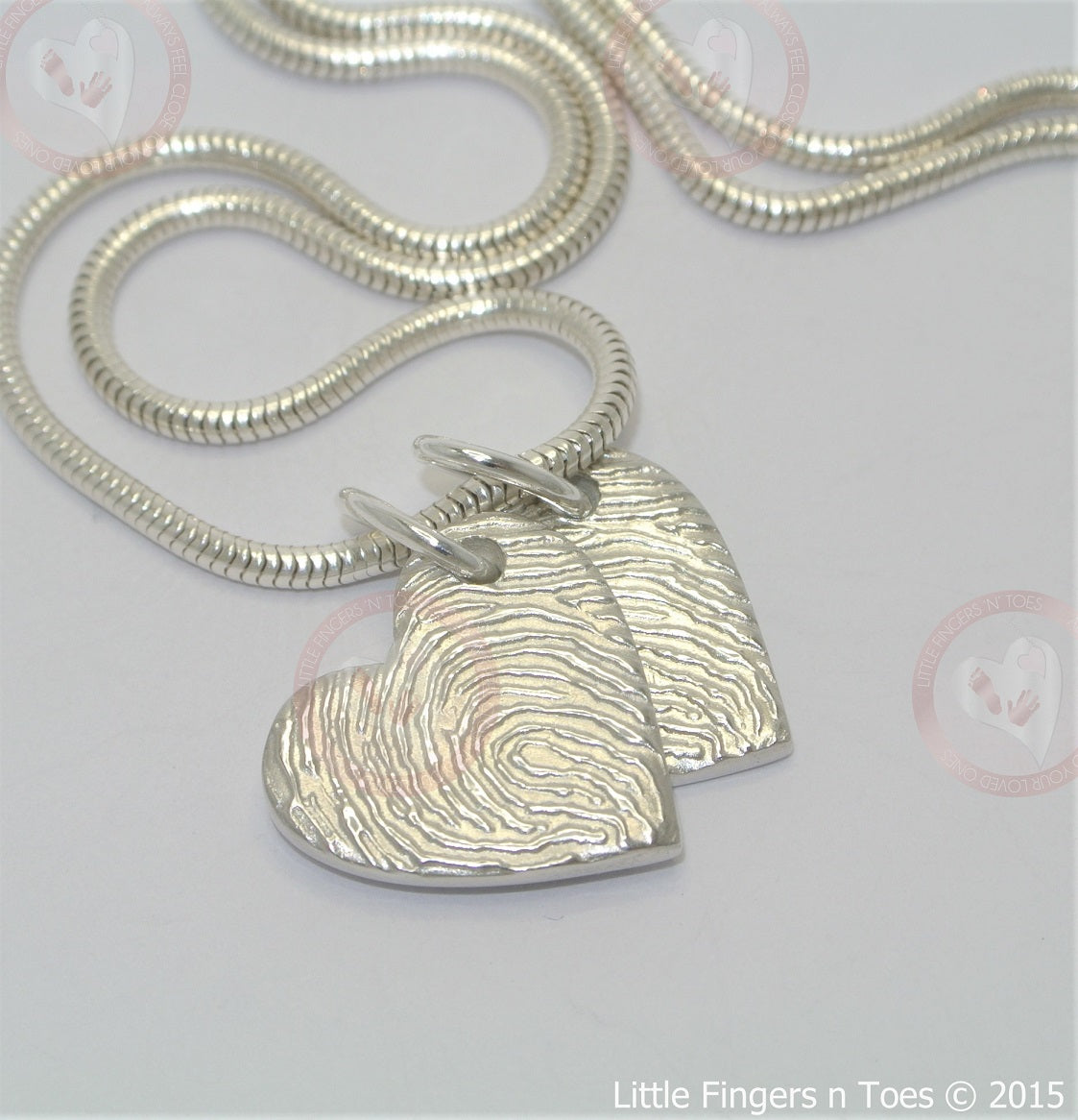 Double-Sided Magnified Fingerprint Pendant. Sterling Silver Fingerprint Jewellery