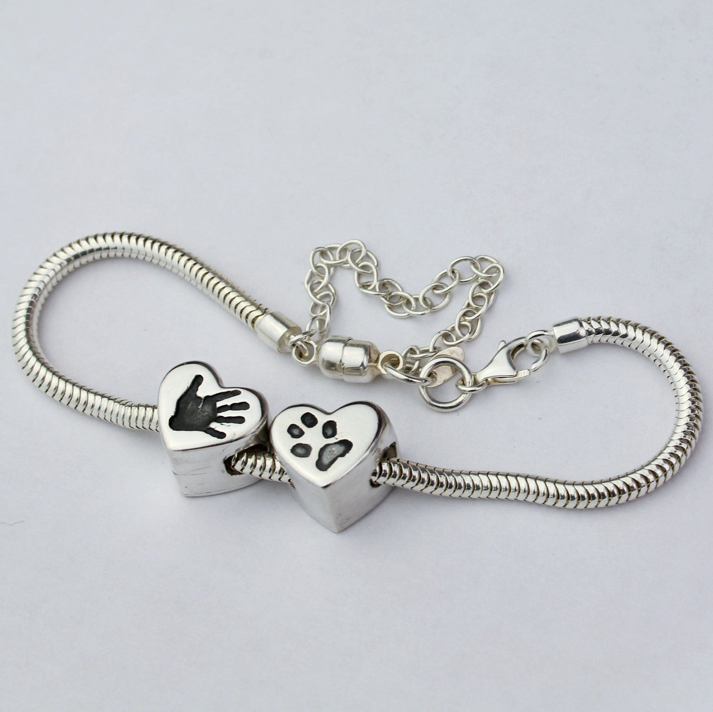 Pandora Style Heart Charm Bead Sterling Silver Handprint Jewellery