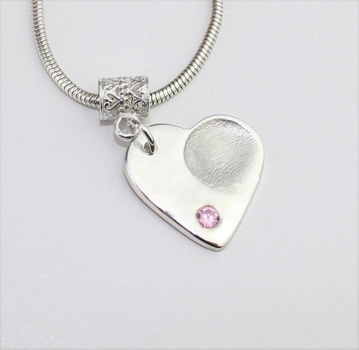 Heart Shape with Gemstone Sterling Silver Fingerprint Jewellery
