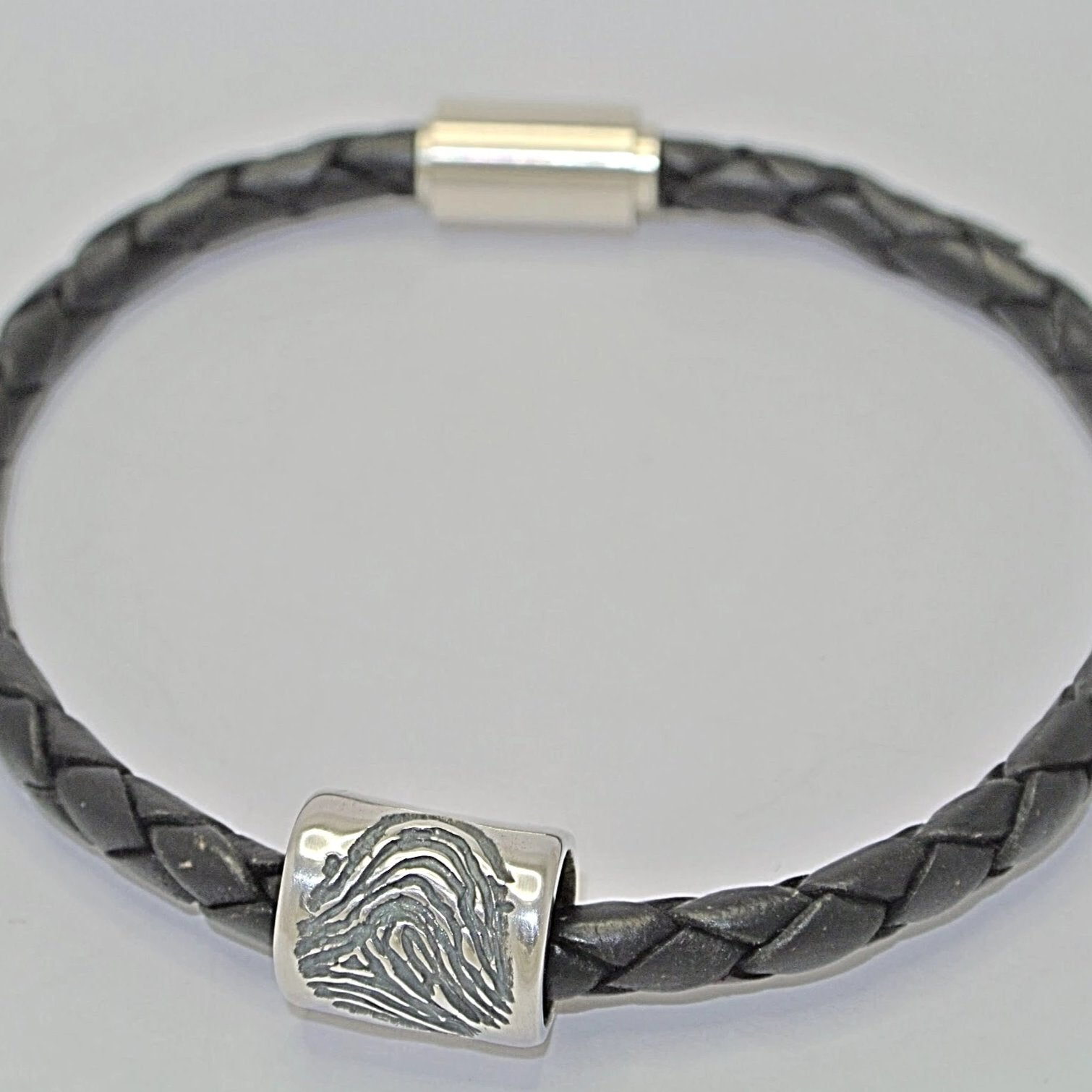 Fingerprint Jewellery Mens Barrel Bead
