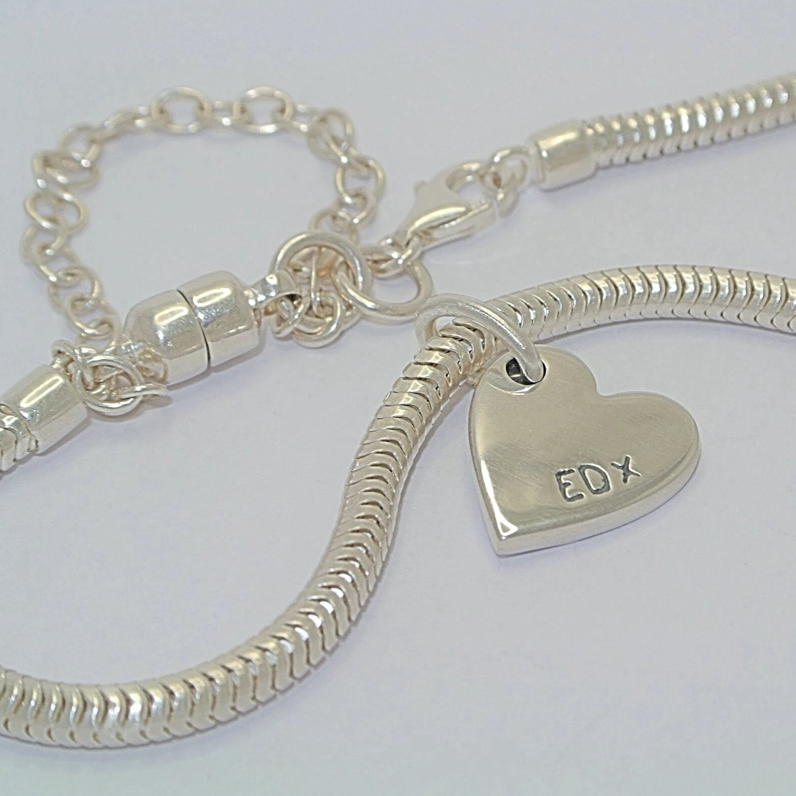 Double-Sided Bracelet Charm Sterling Silver Fingerprint Jewellery