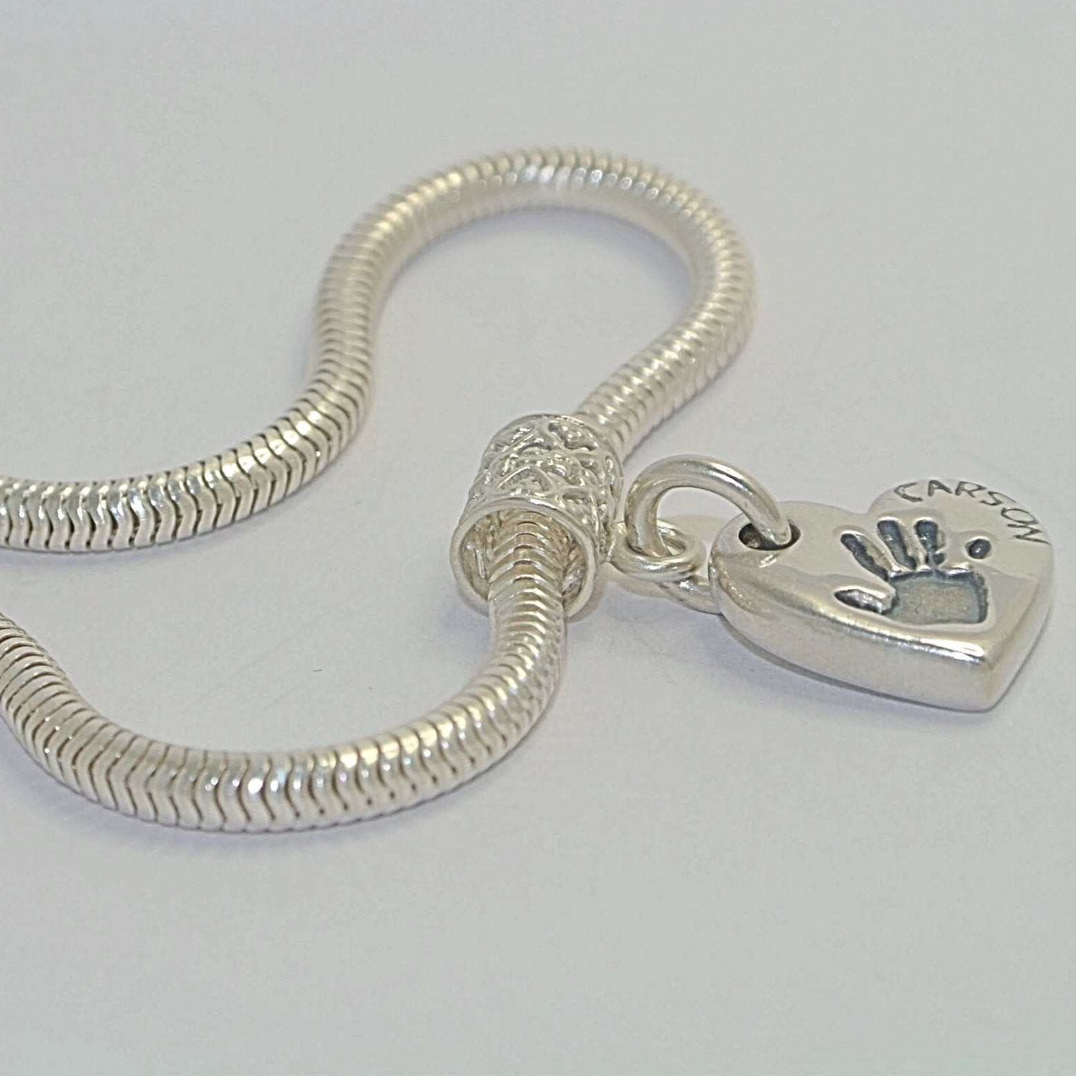 Double-Sided Bracelet Charm Sterling Silver Handprint Keepsake Jewellery