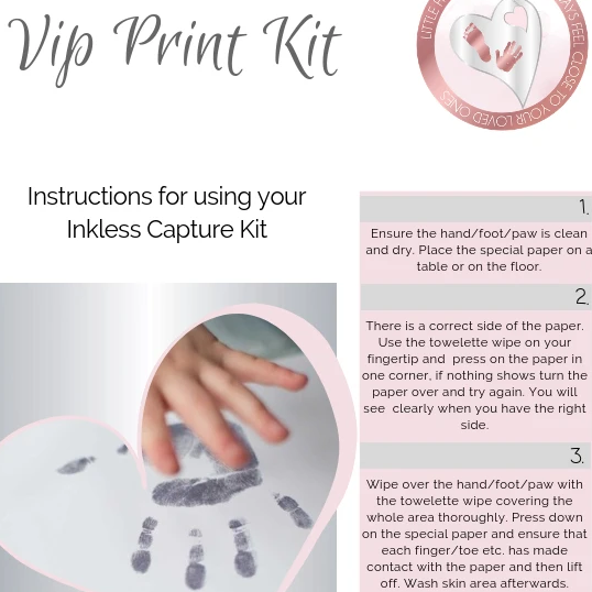 Hand, Foot or Pawprint Inkless Wipe Kit For Sterling Silver Handprint Jewellery