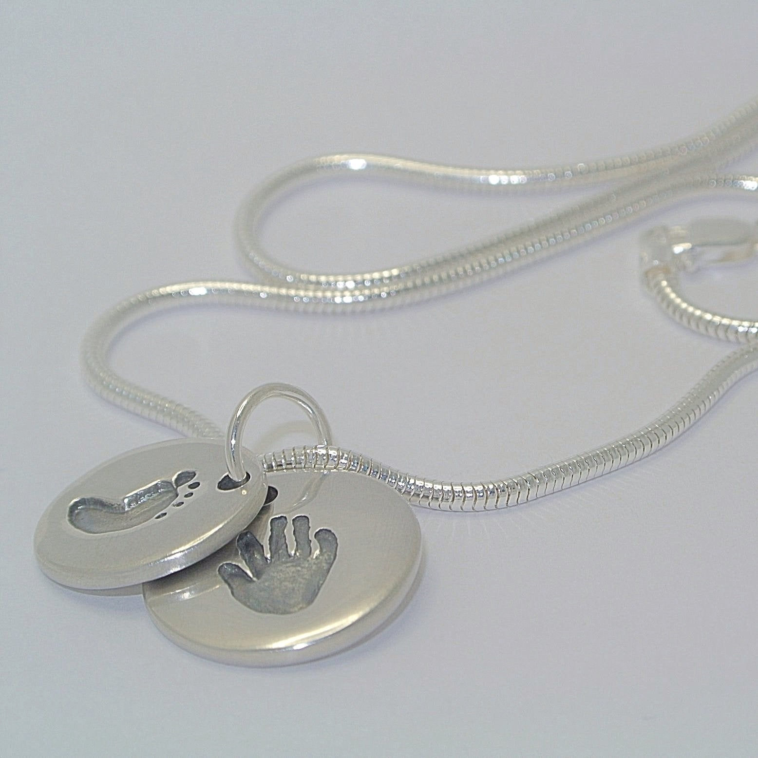 Descending Duo Sterling Silver Handprint or Footprint Jewellery Circles