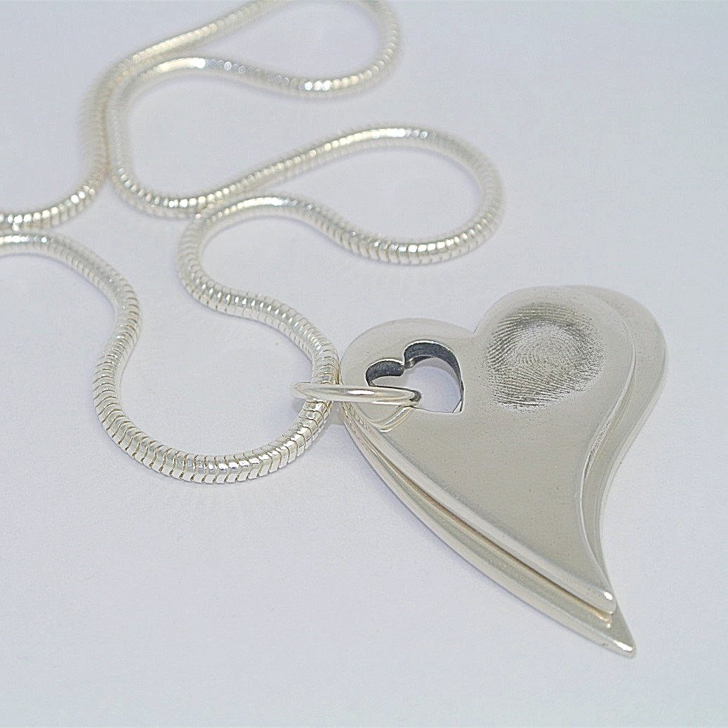 Descending Duo Sterling Silver Fingerprint Jewellery Hearts