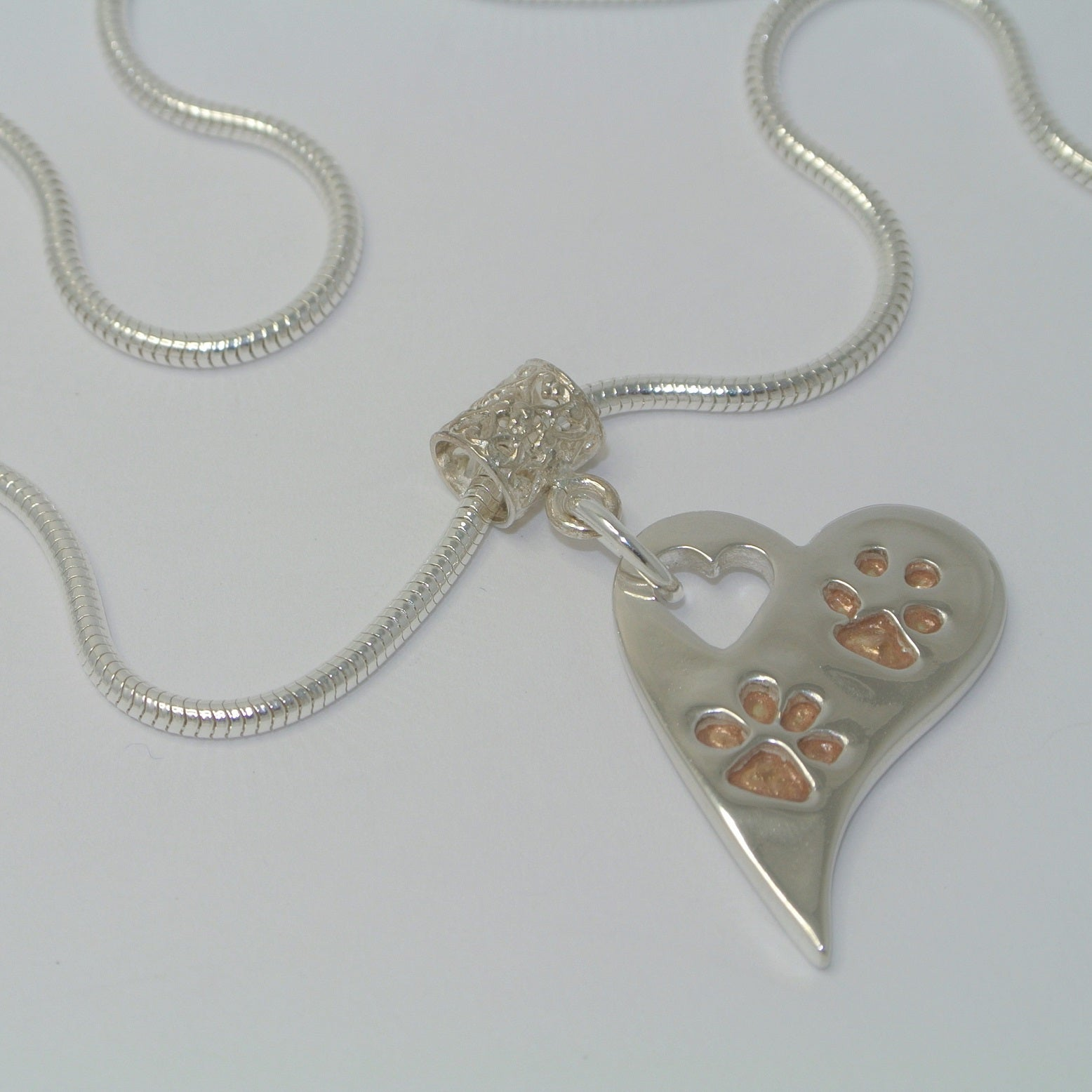 fa03545d2 Wavy Heart Pawprints with Rose Gold. Sterling Silver Pawprint Jewellery