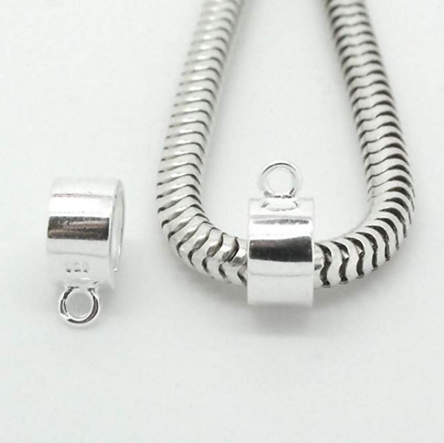 Chunky Sterling Silver Tube Bail For Sterling Silver Fingerprint Jewellery