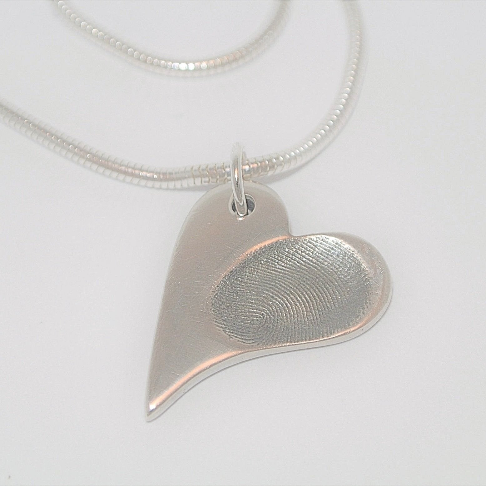 Wavy Heart Fingerprint Necklace Sterling Silver Fingerprint Jewellery