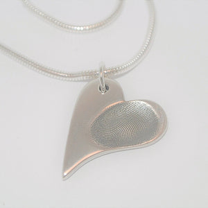 Fingerprint Wavy Heart Necklace