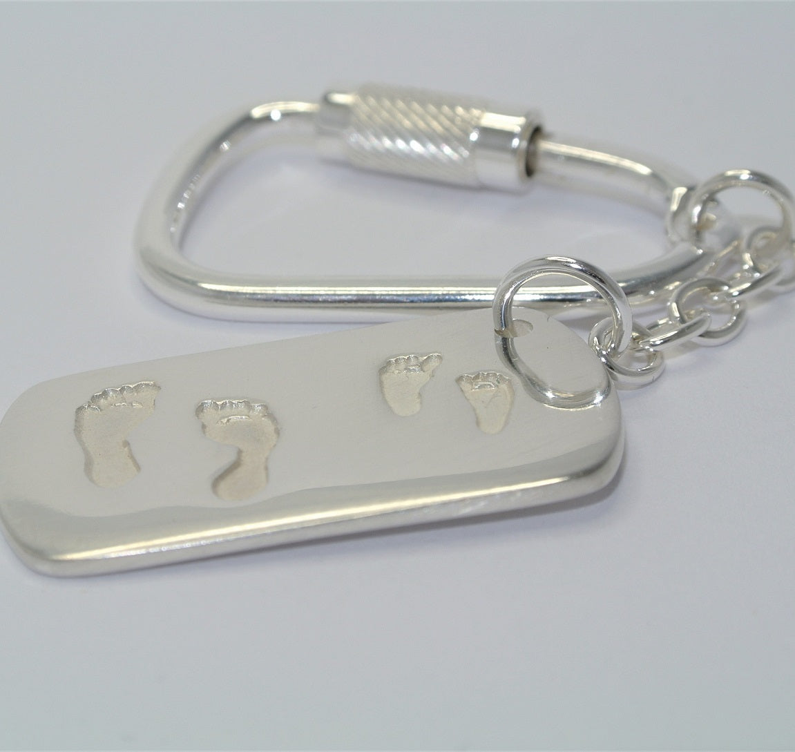 Dogtag Shape Pairs of Feet Sterling Silver Keepsake Jewellery
