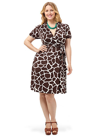 Giraffe Print Faux-Wrap Dress