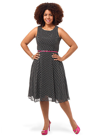 Scoop Neck Polka Dot Dress