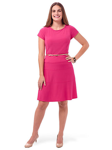 Pink Cap Sleeve Belted Dress