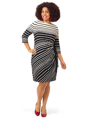 Stripe Boatneck Dress With Side Tie