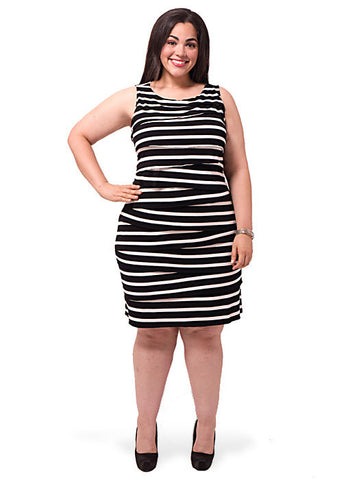 Asymmetrical Striped Tiered Dress