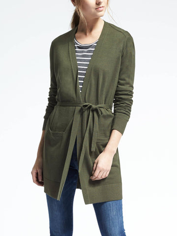 Merino Belted Open Front Cardigan