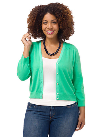3/4-Sleeve Green Cardigan