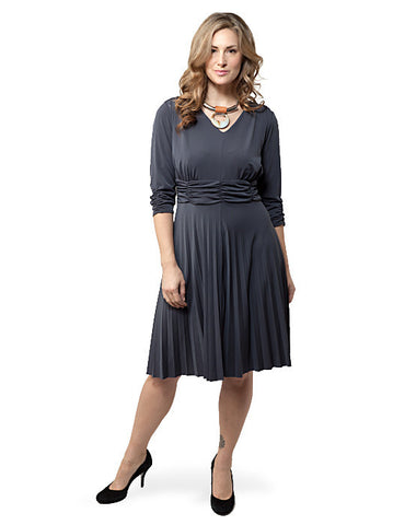 Three-Quarter Sleeve Ruched Pleated Gray