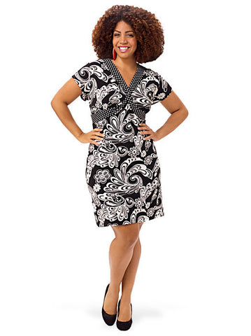 Printed Twist-Front A-Line Dress