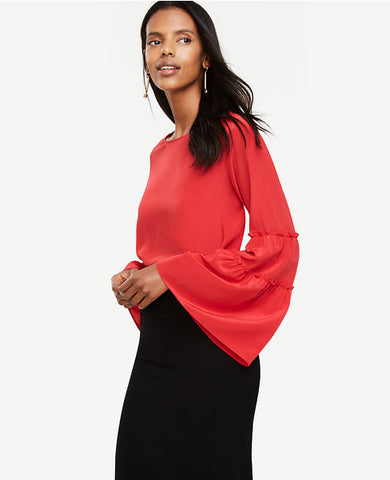 Bell Sleeve Silk Blouse