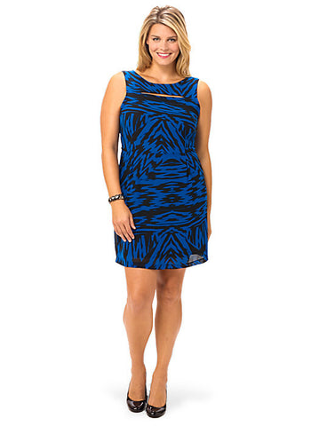 Zulu Printed Pleated Sheath In Blue