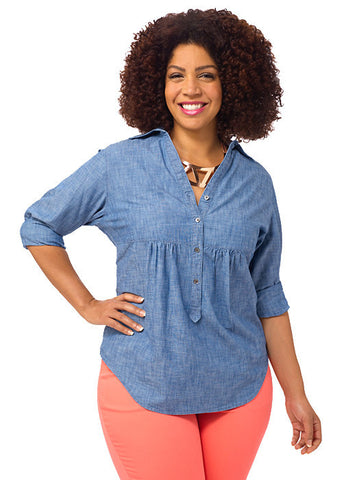 Empire Waist Chambray Tunic