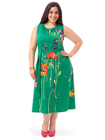 Keyhole Dress In Green Floral