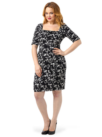 Printed Shutter Sheath Dress