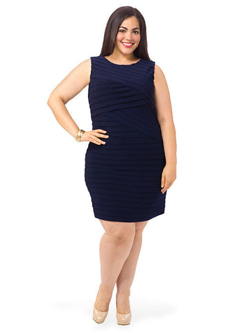 Asymmetrical Sheath Dress In Navy
