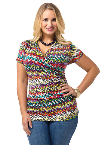 Faux Wrap Shirred Top In Chevron