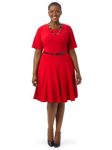 Red Fit & Flare Scoop Neck Dress