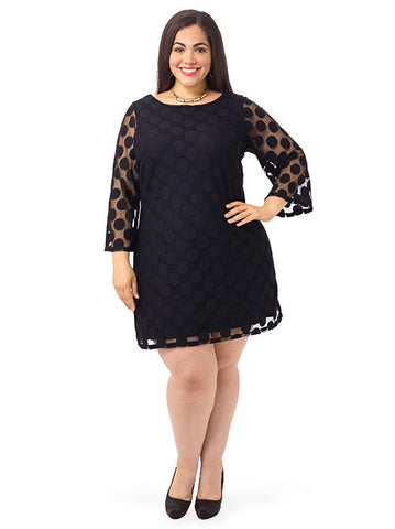 Three Quarter Sleeve Polka Dot Dress