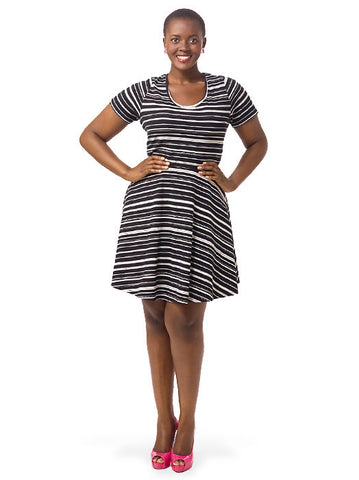 Short Sleeve Striped A-Line Dress