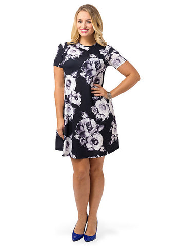 Swing Dress In Shadow Rose Print