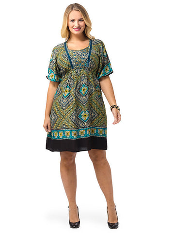 Short Sleeve Printed Peasant A-Line Dress