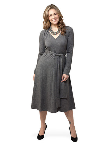Sash Wrap Dress Gray