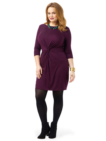 3/4 Sleeve Boat Neck Twist Front Dress In Cadet