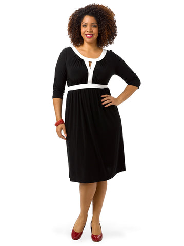 Bewitching Banded Dress In Black & White
