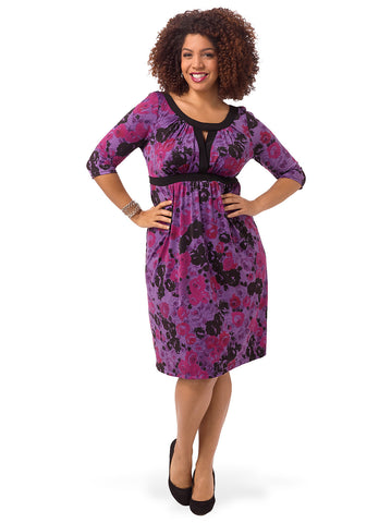 Bewitching Banded Dress In Purple Floral