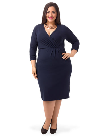 Navy Long Sleeve Faux Wrap Dress
