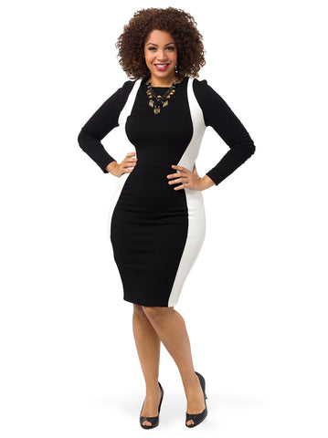 Long Sleeve Colorblock Dress In Black & White