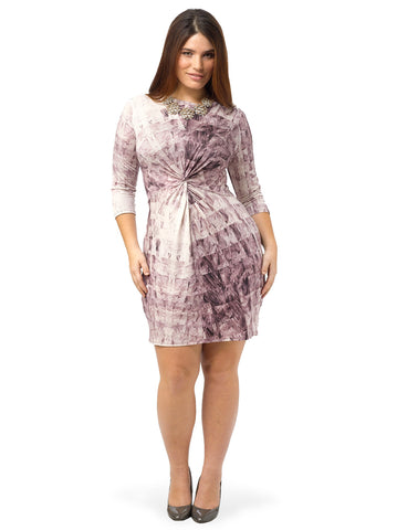 3/4 Sleeve Twist Front Dress In Marble Print
