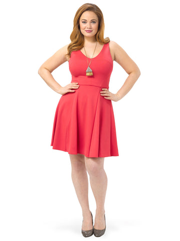 Coral Fit and Flare Dress