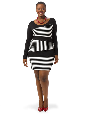 Bodycon Striped Colorblock Dress