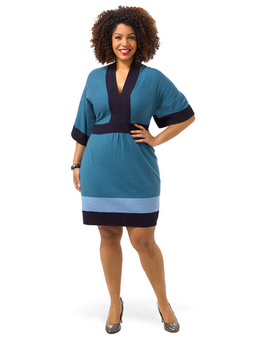 Dolman Sleeve Colorblocked Sweater Dress