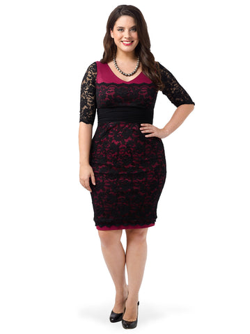 Lace Cocktail Dress In Berry & Black