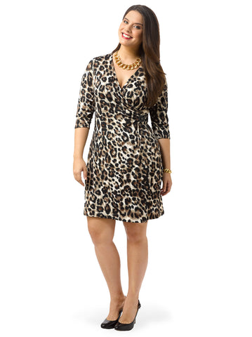 Animal-Print Faux Wrap Dress
