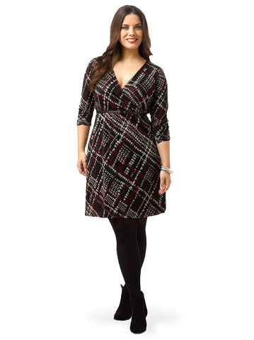 Printed Faux Wrap Sweater Dress
