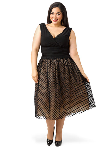 Ruched Waist Dress With Full Skirt